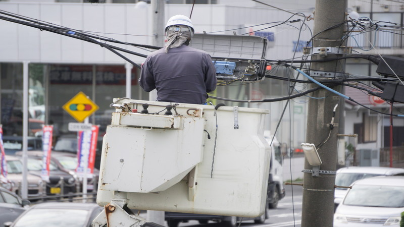 高所における電気工事
